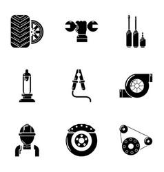 Ignition timing icons set simple style vector