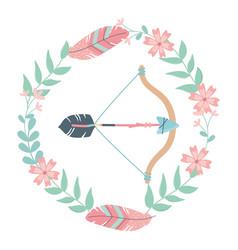 Isolated boho arrow and bow design vector