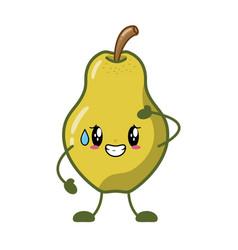 Kawaii pear cartoon character vector