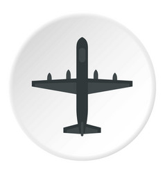 large aircraft with missiles icon circle vector image