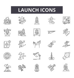 launch icon line icons for web and mobile design vector image