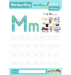 Letter m uppercase and lowercase tracing practice vector