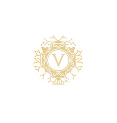 letter v initial logo for wedding boutique luxury vector image