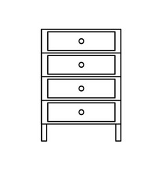 line cabinet archive file document with drawer vector image