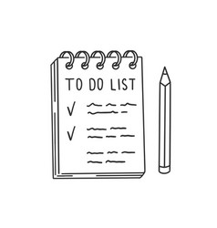 list with things to do in notepad and pencil vector image