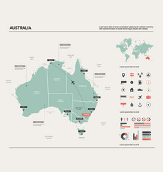 Map of australia high detailed map with division vector