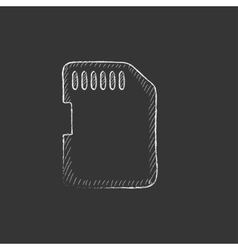 Memory card Drawn in chalk icon vector