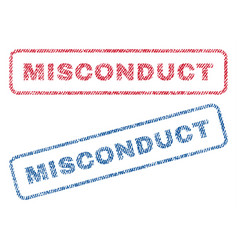 Misconduct textile stamps vector