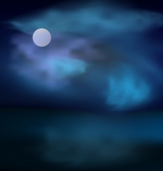 Moon and clouds on dark stormy sky vector