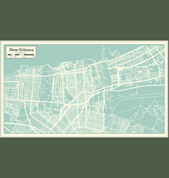 New orleans louisiana usa city map in retro style vector