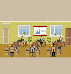 office room interior with many working employee vector image