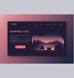 outdoor camping landing page vector image