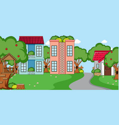 Outdoor scene with front many houses and long vector