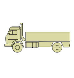 Outline of cargo truck side view - freight dumper vector
