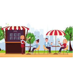 Park cafe with umbrella people drink coffe in vector