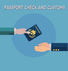 passport check and customs concept vector image