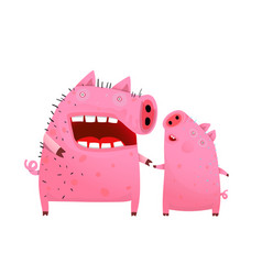 Pigs mom and son or daughter vector