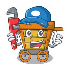 Plumber wooden trolley mascot cartoon vector