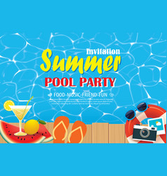 Pool party invitation poster with blue water and vector