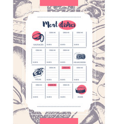 processed meat - hand drawn template menu vector image