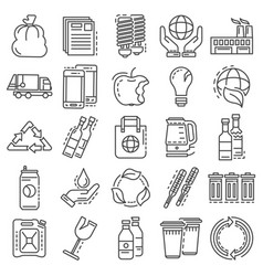 Recycles icon set outline style vector