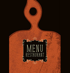 restaurant menu with wooden cutting board vector image