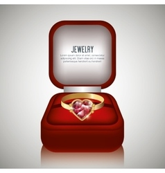 Ring in box gift isolated vector