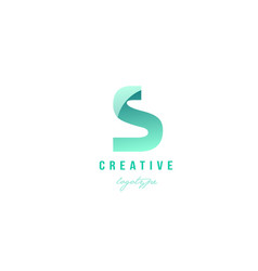 S green pastel gradient alphabet letter logo icon vector