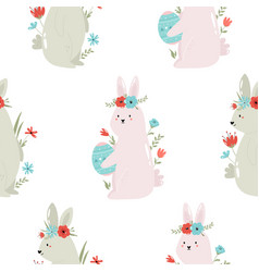 seamless pattern with cute rabbits vector image