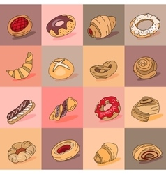 Seamless pattern with different kinds of pastry vector image