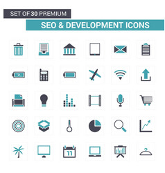 seo and developement icons blue vector image