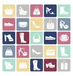 Shoes and bags icons in flat style vector image