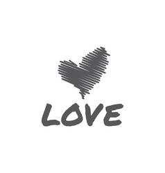 sketch heart love vector image