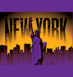 statue liberty in background new york city vector image