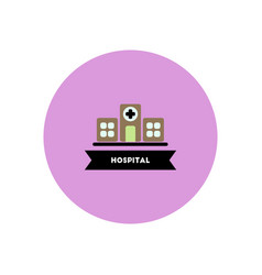 Stylish icon in color circle building hospital vector