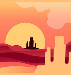Sunrise in american wild desert natural landscape vector