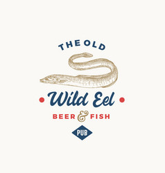 The old wild eel beer pub abstract sign symbol or vector