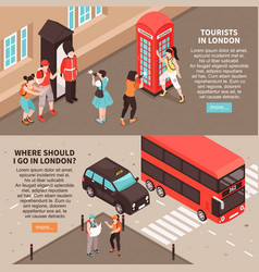 tourists in london horizontal banners vector image