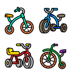 Tricycle icons set outline style vector