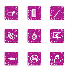 Undercover icons set grunge style vector