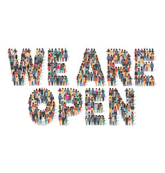 we are open typography banner large group vector image