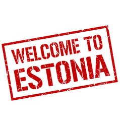 welcome to estonia stamp vector image