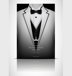 White suit and tuxedo with black bow tie vector