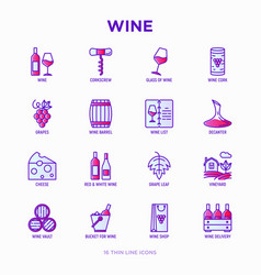 wine thin line icons set vector image