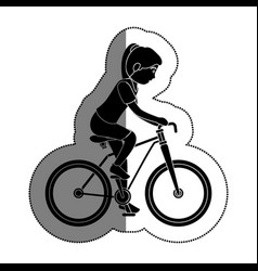 Woman athlete in bicycle avatar character vector