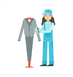 Woman Dusting The Suit With Brush Cleaning vector