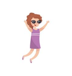 young happy woman in sunglasses having fun cartoon vector image