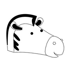 zebra cartoon head in black dotted silhouette vector image