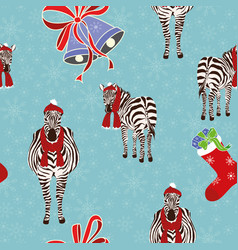 zebra gift sock bells seamless christmas vector image