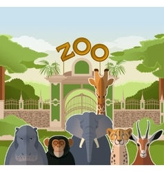 Zoo gate with african flat animals vector